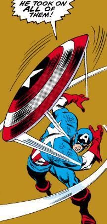 Marvel Comics Retro: Captain America Comic Panel, Throwing Shield