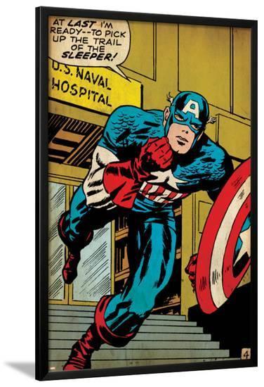 Marvel Comics Retro: Captain America Comic Panel, U.S. naval Hospital (aged)--Lamina Framed Poster