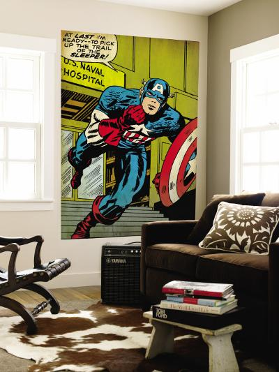 Marvel Comics Retro: Captain America Comic Panel, U.S. naval Hospital (aged)--Wall Mural