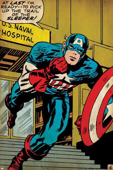 Marvel Comics Retro: Captain America Comic Panel, U.S. naval Hospital (aged)--Art Print