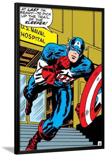 Marvel Comics Retro: Captain America Comic Panel, U.S. naval Hospital--Lamina Framed Poster