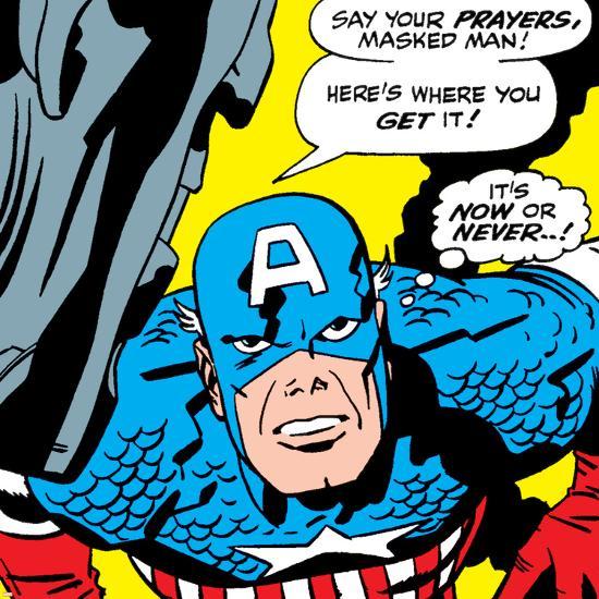 Marvel Comics Retro: Captain America Comic Panel, Villain Monologue, Say your Prayers--Art Print