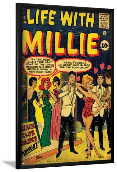 Marvel Comics Retro: Life with Millie Comic Book Cover No.13, Bathing Suit, Beach Club Dance (aged)--Lamina Framed Poster