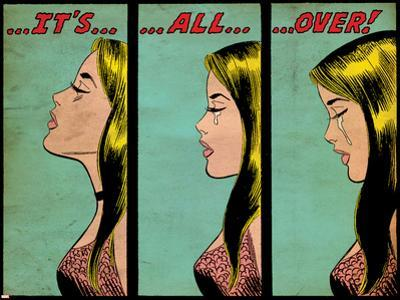 Marvel Comics Retro: Love Comic Panel, Crying, It's All Over! (aged)