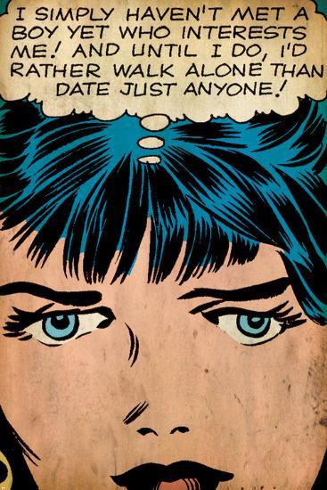 Marvel Comics Retro: Love Comic Panel, Proud Single Woman (aged)--Art Print