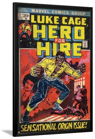Marvel Comics Retro: Luke Cage, Hero for Hire Comic Book Cover No.1, Origin (aged)--Lamina Framed Poster