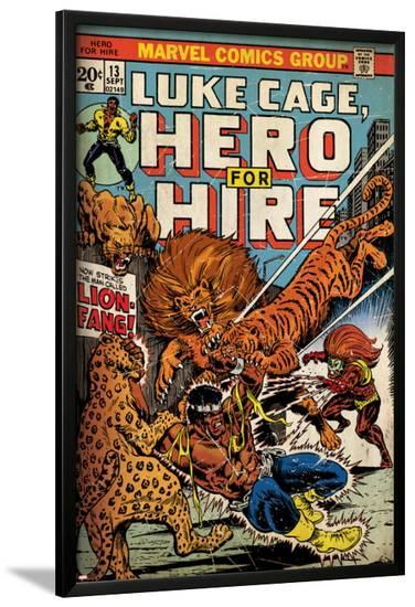 Marvel Comics Retro: Luke Cage, Hero for Hire Comic Book Cover No.13, Fighting Lion-fang (aged)--Lamina Framed Poster