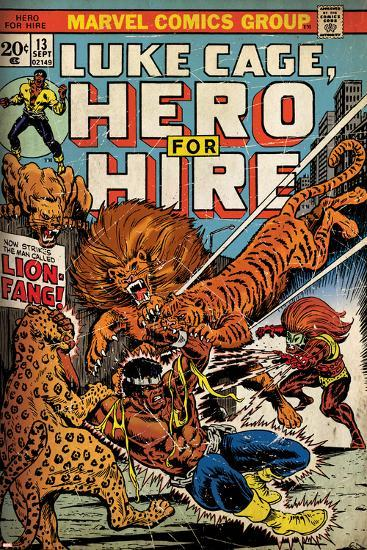 Marvel Comics Retro: Luke Cage, Hero for Hire Comic Book Cover No.13, Fighting Lion-fang (aged)--Art Print
