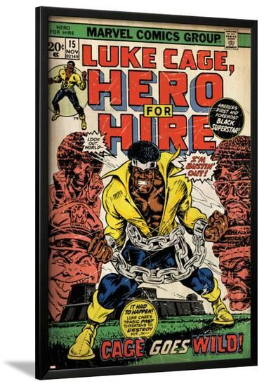Marvel Comics Retro: Luke Cage, Hero for Hire Comic Book Cover No.15, in Chains (aged)--Lamina Framed Poster