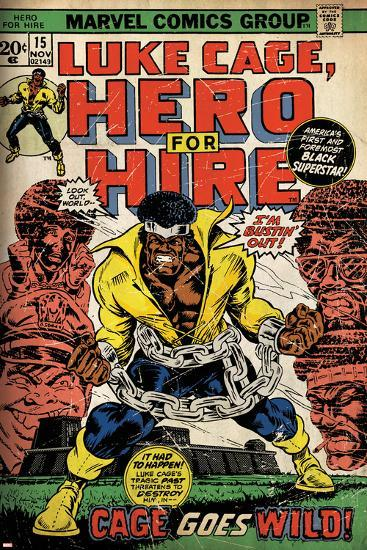 Marvel Comics Retro: Luke Cage, Hero for Hire Comic Book Cover No.15, in Chains (aged)--Art Print