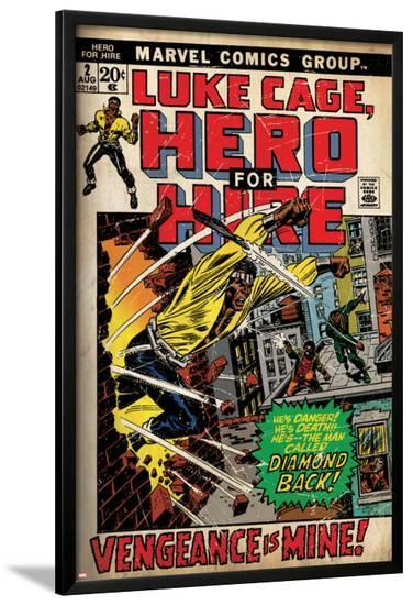 Marvel Comics Retro: Luke Cage, Hero for Hire Comic Book Cover No.2, Smashing Wall (aged)--Lamina Framed Poster