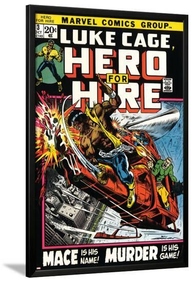 Marvel Comics Retro: Luke Cage, Hero for Hire Comic Book Cover No.3, Mace in Helicopter--Lamina Framed Poster