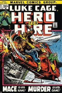 Marvel Comics Retro: Luke Cage, Hero for Hire Comic Book Cover No.3, Mace in Helicopter