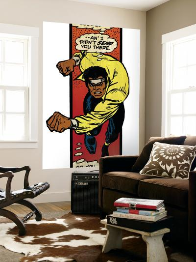 Marvel Comics Retro: Luke Cage, Hero for Hire Comic Panel, Charging (aged)--Wall Mural