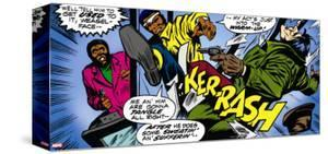 Marvel Comics Retro: Luke Cage, Hero for Hire Comic Panel, Kicking and Fighting