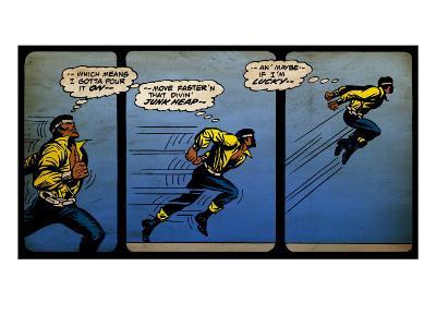 Marvel Comics Retro: Luke Cage, Hero for Hire Comic Panel, Running and Jumping (aged)--Art Print