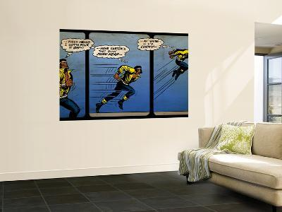 Marvel Comics Retro: Luke Cage, Hero for Hire Comic Panel, Running and Jumping (aged)--Wall Mural