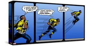 Marvel Comics Retro: Luke Cage, Hero for Hire Comic Panel, Running and Jumping