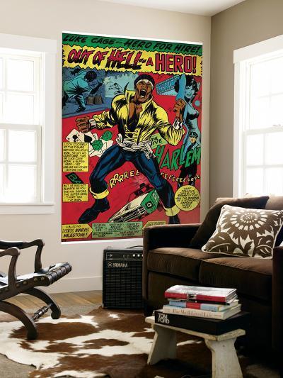 Marvel Comics Retro: Luke Cage, Hero for Hire Comic Panel, Screaming (aged)--Wall Mural