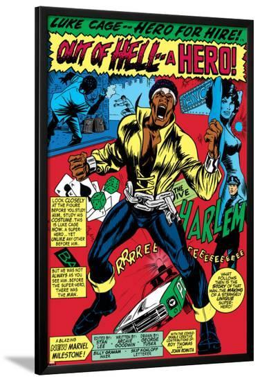 Marvel Comics Retro: Luke Cage, Hero for Hire Comic Panel, Screaming--Lamina Framed Poster
