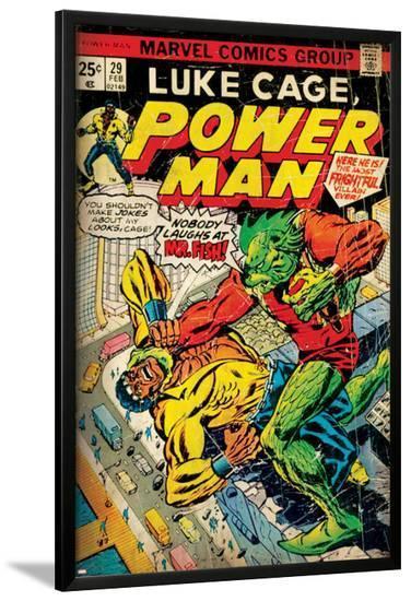 Marvel Comics Retro: Luke Cage, Power Man Comic Book Cover No.29, Fighting Mr. Fish (aged)--Lamina Framed Poster