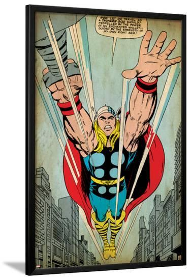 Marvel Comics Retro: Mighty Thor Comic Panel, Flying (aged)--Lamina Framed Poster