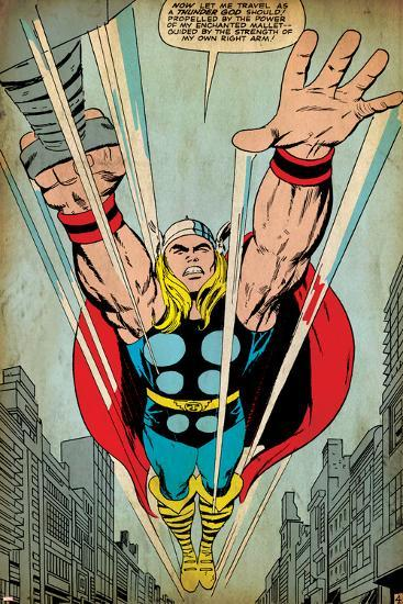 Marvel Comics Retro: Mighty Thor Comic Panel, Flying (aged)--Art Print