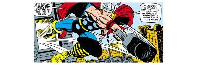 Marvel Comics Retro: Mighty Thor Comic Panel, Flying and Jumping--Art Print