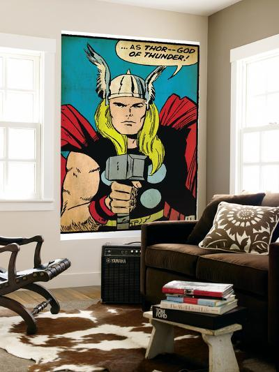 Marvel Comics Retro: Mighty Thor Comic Panel; God of Thunder! Holding Hammer (aged)--Wall Mural