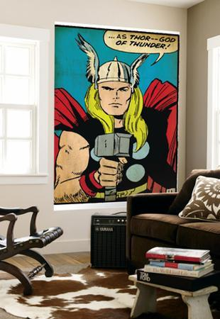Marvel Comics Retro: Mighty Thor Comic Panel; God of Thunder! Holding Hammer (aged)