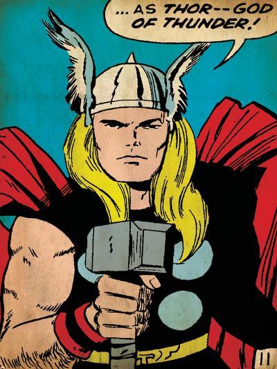 Marvel Comics Retro: Mighty Thor Comic Panel; God of Thunder! Holding Hammer (aged)--Art Print