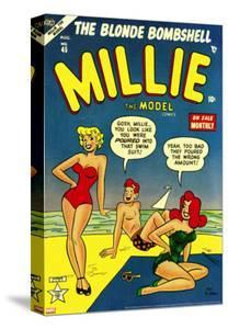 Marvel Comics Retro: Millie the Model Comic Book Cover No.45, in Bathing Suit, at the Beach
