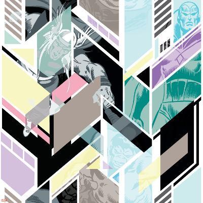 Marvel Comics Retro Pattern Design Featuring Hulk, Thor, Vision--Art Print