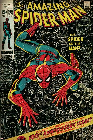 Marvel Comics Retro: The Amazing Spider-Man Comic Book Cover No.100, 100th Anniversary Issue (aged)--Art Print