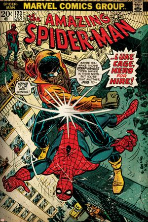 Marvel Comics Retro: The Amazing Spider-Man Comic Book Cover No.123, Luke Cage - Hero for Hire