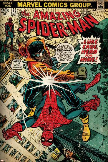 Marvel Comics Retro: The Amazing Spider-Man Comic Book Cover No.123, Luke Cage - Hero for Hire--Art Print