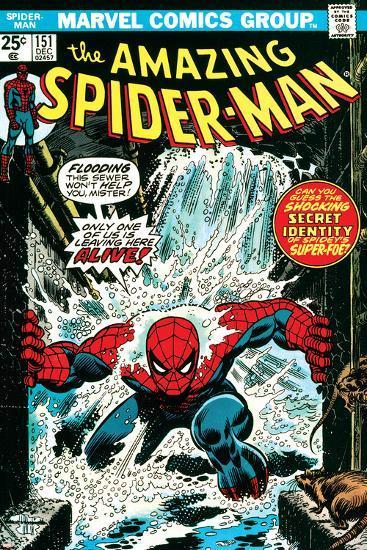 Marvel Comics Retro: The Amazing Spider-Man Comic Book Cover No.151, Flooding--Art Print