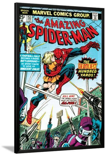 Marvel Comics Retro: The Amazing Spider-Man Comic Book Cover No.153, The Deadliest Hundred Yards--Lamina Framed Poster
