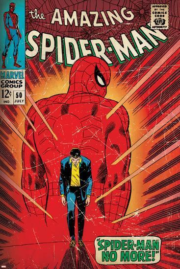 Marvel Comics Retro: The Amazing Spider-Man Comic Book Cover No.50, Spider-Man No More! (aged)--Art Print