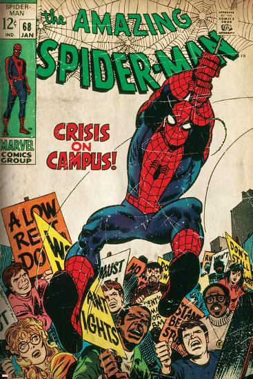 Marvel Comics Retro: The Amazing Spider-Man Comic Book Cover No.68, Crisis on Campus (aged)--Art Print