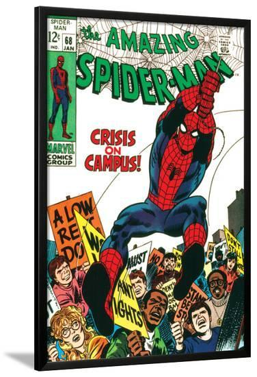 Marvel Comics Retro: The Amazing Spider-Man Comic Book Cover No.68, Crisis on Campus--Lamina Framed Poster