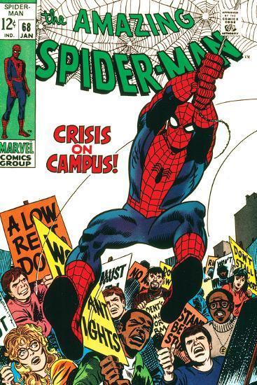 Marvel Comics Retro: The Amazing Spider-Man Comic Book Cover No.68, Crisis on Campus--Art Print