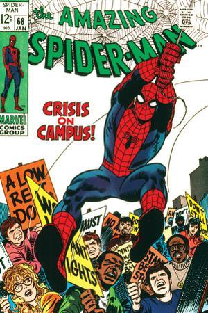 Marvel Comics Retro: The Amazing Spider-Man Comic Book Cover No.68, Crisis on Campus