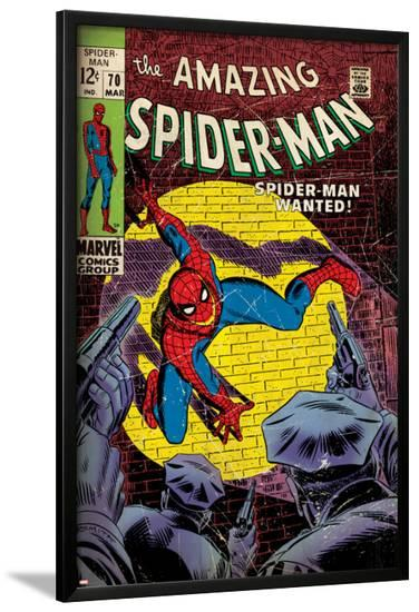 Marvel Comics Retro: The Amazing Spider-Man Comic Book Cover No.70, Wanted! (aged)--Lamina Framed Poster