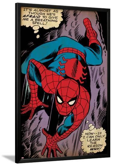 Marvel Comics Retro: The Amazing Spider-Man Comic Panel, Crawling (aged)--Lamina Framed Poster