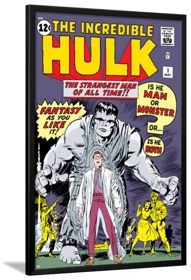 Marvel Comics Retro: The Incredible Hulk Comic Book Cover No.1, with Bruce Banner--Lamina Framed Poster