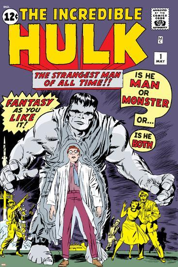 Marvel Comics Retro: The Incredible Hulk Comic Book Cover No.1, with Bruce Banner--Art Print