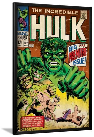 Marvel Comics Retro: The Incredible Hulk Comic Book Cover No.102, Big Premiere Issue (aged)--Lamina Framed Poster