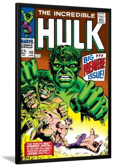 Marvel Comics Retro: The Incredible Hulk Comic Book Cover No.102, Big Premiere Issue--Lamina Framed Poster