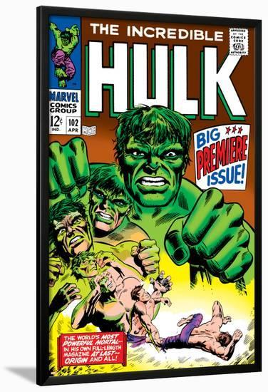 Marvel Comics Retro: The Incredible Hulk Comic Book Cover No.102, Big Premiere Issue--Lamina Framed Poster